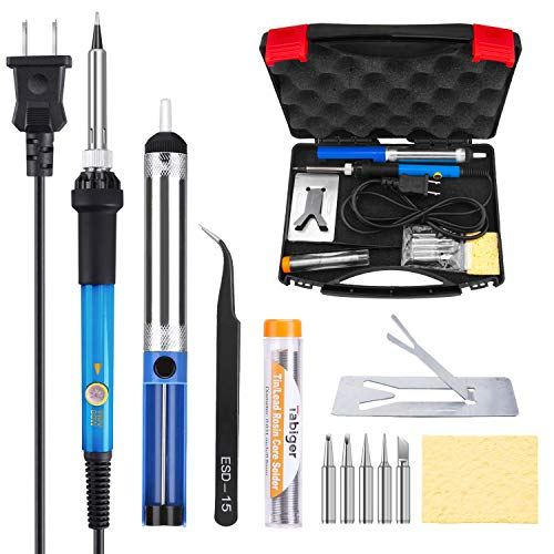 Tabiger Soldering Iron Kit 60W 110V-Adjustable Temperature Welding Soldering Iron with Tool Carry ()