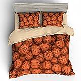 BOMCOM 3D Digital Printing Basketball Balls in Bucket Basketball Background 3-Piece Duvet Cover Sets 100% Microfiber (queen, Basketball Balls in Rows)