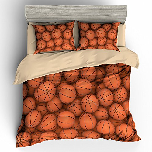 BOMCOM 3D Digital Printing Basketball Balls in Bucket Basketball Background 3-Piece Duvet Cover Sets 100% Microfiber (queen, Basketball Balls in Rows) (Bucket Basketball)