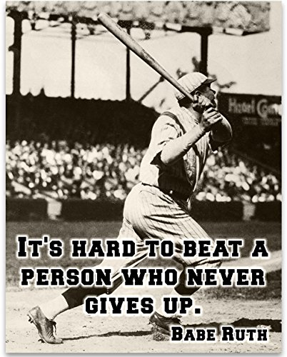 Babe Ruth - It's Hard Art Print - 11x14 Unframed Art Print - Great Boy's/Girl's Room Decor and Gift for Baseball Fans from Personalized Signs by Lone Star Art
