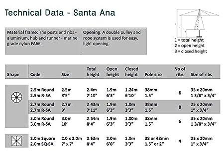 Hartman Parasol Solar Line R 300 Polyester.Bambrella Santa Ana 2m Square Ecru Spuncrylic Parasol Amazon Co Uk