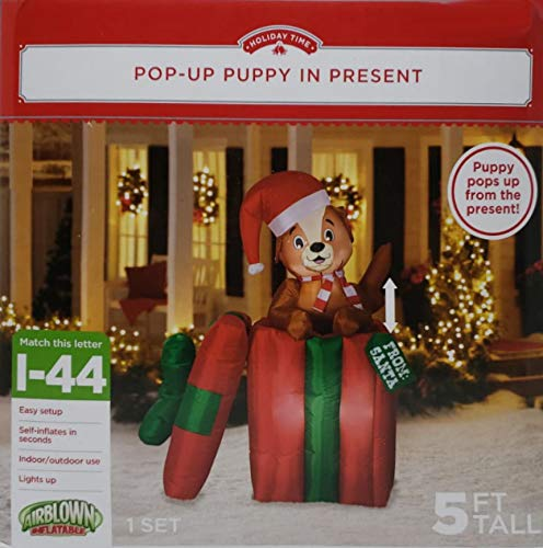 Holiday Time Inflatable Pop Up Puppy Present, 5' ()