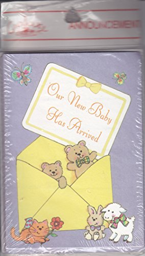 "Baby Boy or Girl Birth Announcement Cards - ""Our New Baby Has Arrived"" - Special Delivery with Teddy Bears, Cat, Lamb, Bunny, Butterflies"