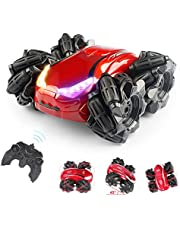 WomToy Remote Control Car RC Cars, 45° Drift High Speed Off Road Climbing Stunt Car, 4WD Lateral Side Shift Stunt Vehicle with Led Headlights, Kids Toy Cars for Boys & Girls Birthday