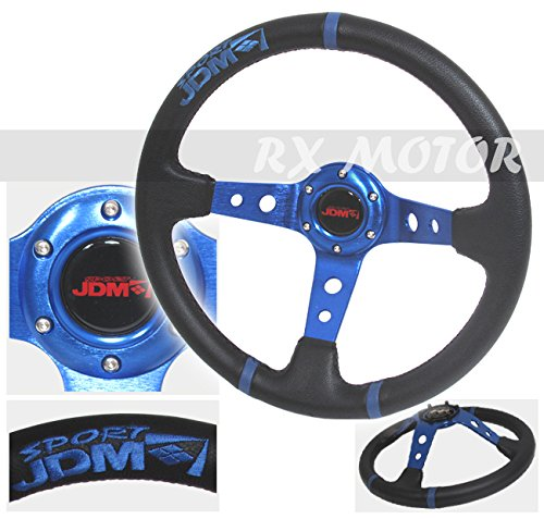 "Rxmotor 3.5"" Deep Steering Wheel Black Blue Pvc Leather w/ B"