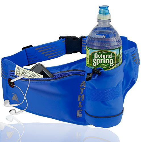 Athlé Running Fanny Pack with Water Bottle Holder - Adjustable Run Belt Storage Pouch with Zipper Pocket for Sports and Travel – 360° Reflective Band – Fits iPhone Plus, Galaxy Note – Blue (Pack Holder With Bottle Fanny)