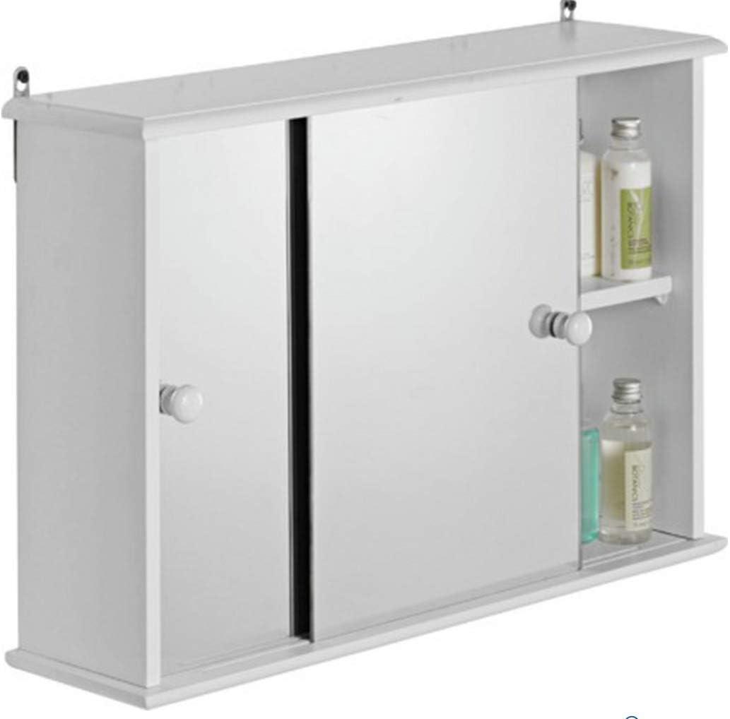 Armario de Almacenamiento con Espejo y Puerta corredera para baño, de Madera, Color Blanco: Amazon.es: Electrónica