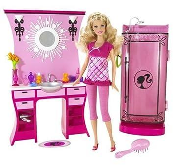 Barbie - N4895 - Accessoire Poupée - Salle de Bain Rose + Barbie ...
