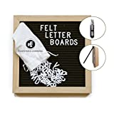 Letter Board   Beautiful & Classic, Black Changeable Felt Board 10'' x 10''   Oak Wood Frame, 340 Letters & Emojis, Includes Free Canvas Bag, Scissors, Wall Mount and Stand   Great for Home & Office