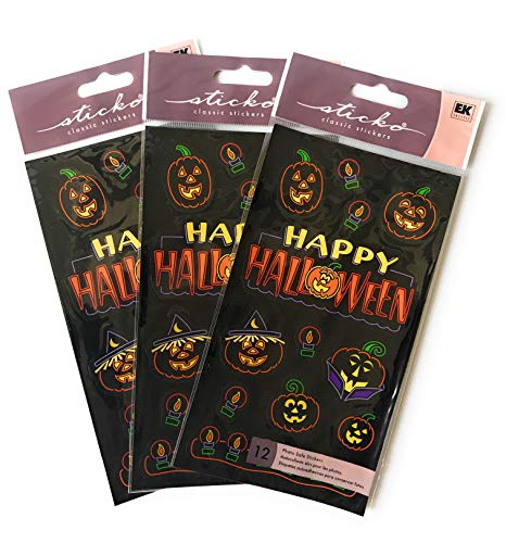 Happy Halloween Stickers - Set of 3 Sheets of Stickers for Halloween - 36 Total Stickers - Great Value! ()