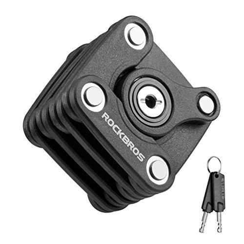 ROCK BROS Cube Bike Lock Heavy Duty Anti-Theft Bicycle Chain Lock Folding with Mounting Bracket Multi-Function Alloy Hamburger Lock with Keys Black ()