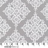 Linda Lace White on Gray Fabric One Yard (0.9m) CX5276-Stone