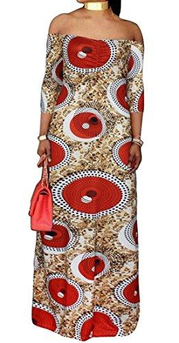 Ainr Dashiki Africaine Des Femmes Maxi Imprimer Hors Du Parti Shouder Rouge Robe Longue