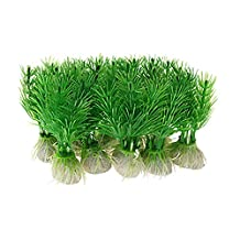 Uxcell a10020300ux0091 10 Piece Green Plastic Plants Aquarium Fish Tank Decoration Ornament