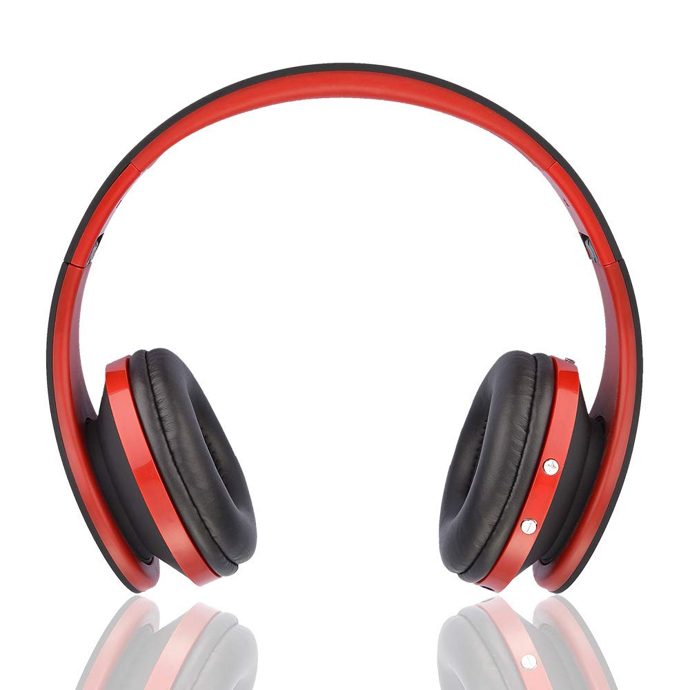Wireless Noise Cancelling Headphones | Magnetic Suction Automatically | Bluetooth Headphones Over Ear - Hi-Fi Stereo Sound with Rich Bass, Built-in Mic, Soft Earmuffs - Foldable Headset (Red&Black)