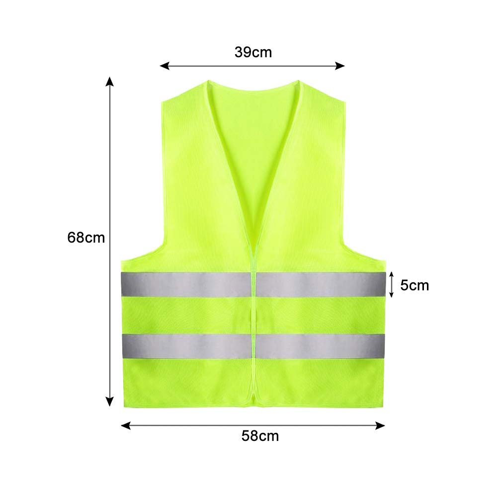 Yellow High Visibility Vest to Improve Visibility at Night or in Low Light Conditions BUZIFU 4 Pcs Safety Reflective Vests for Running//Biking//Walking