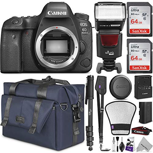 Canon EOS 6D Mark II DSLR Camera Body - WiFi Enabled w/Complete Photo & Travel Bundle - Includes: Altura Photo Bag, Flash, 2pcs SanDisk 64gb SD Card, Monopod and Neck Strap