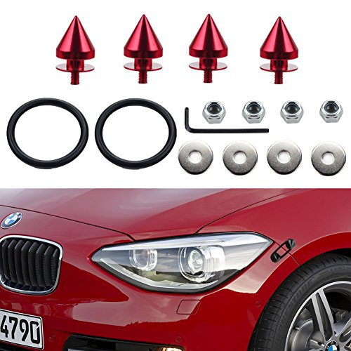 Dewhel New SPIKED ALUMINUM JDM Quick Release Fasteners For Car Bumpers Trunk Fender Hatch Lids Kit Color (Red Trunk Lid)