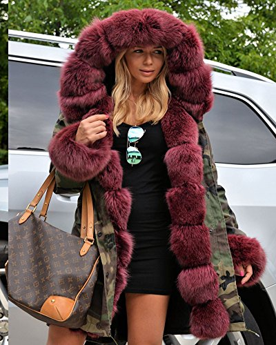 Winter Parka Hooded Fur Wine Plus 14 20 Red UK Women Red Wine Jacket Retro Roiii 8 Outwear Over Coat Faux Size Coat dvEAdw