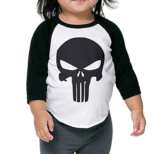 JXMD Kids Boy's & Lass's The Punisher Skull Tshirt Black Size 3 Toddler
