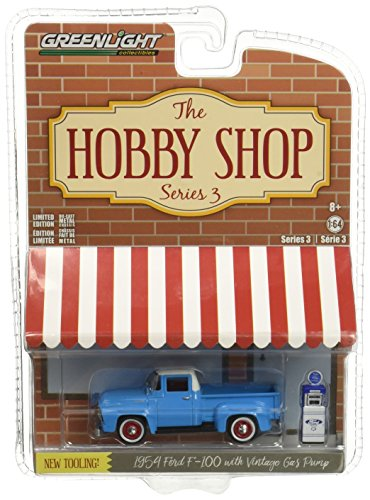 Greenlight 1:64 The Hobby Shop Series 3 1954 Ford F-100 Diecast Vehicle with Vintage Gas Pump from Greenlight