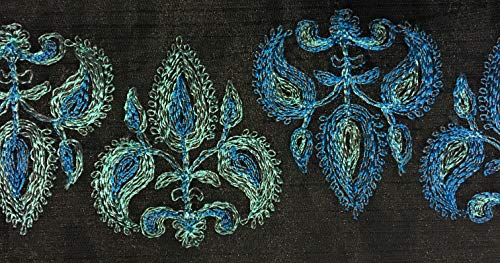 Trim Millinery (Multi Color Embroidery on Black Organza Trim 4