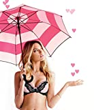 Victoria's Secret Pink Striped Signature Full Size Large Handle Umbrella