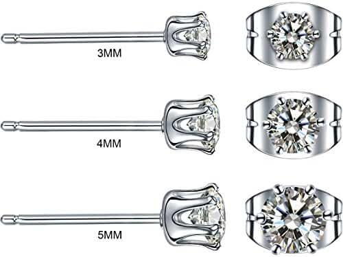 3 Pairs copper plating platinum Mens Womens Stud Earrings Pierced Cubic Zirconia Earrings