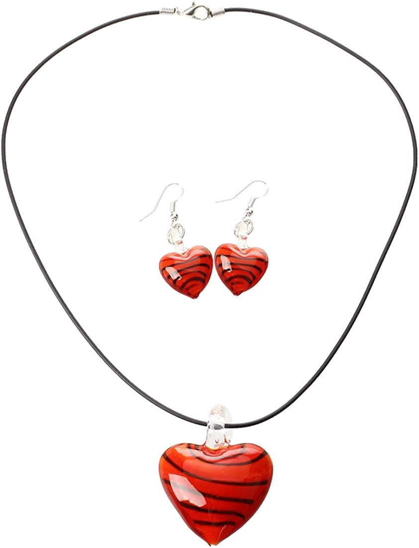 SODIAL(R) Conjunto de Collar Pendientes Cristal Murano Corazn Moda