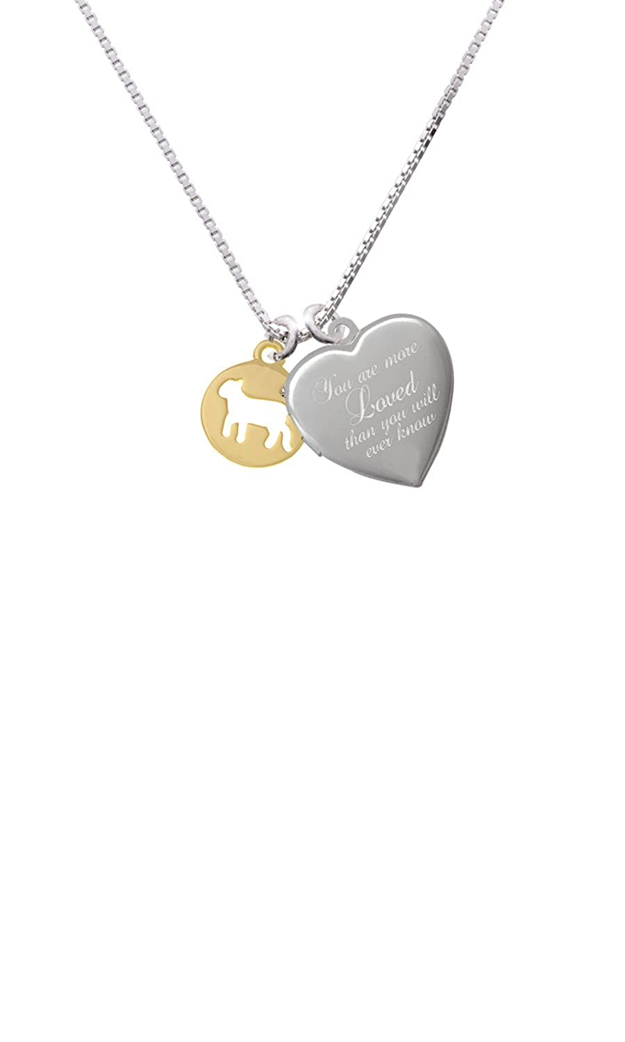 Gold Tone Lamb Silhouette Custom Engraved You are more Loved Heart Locket Necklace