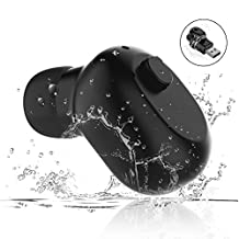 Waterproof Bluetooth Earbud, RedPepper Mini Wireless Headphone, IPX7 Invisible Car Headphone with Mic, 6-Hr Playing Time Swimming Driving Sports Headset for iPhone iPad Samsung Android Phones(One Pcs)