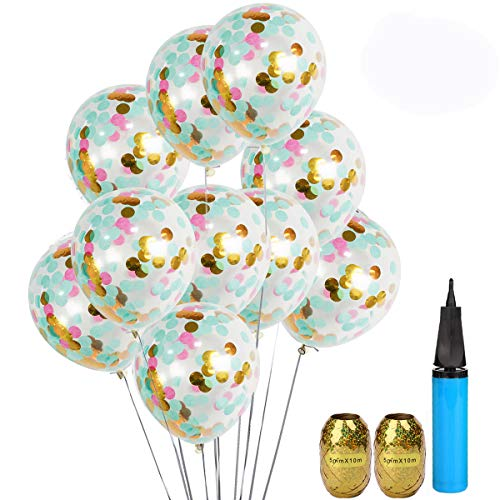 UTOPP 20 Pack Fiesta Confetti Balloons Tiffany Blue Pink and Gold 12