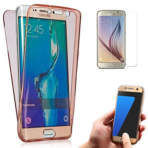 Galaxy S7 Case, Bonice Full Body 360 Degree Front and Back 2pcs Protective Case TPU Gel Transparent Clear Cover for Samsung Galaxy S7 - Dark Pink
