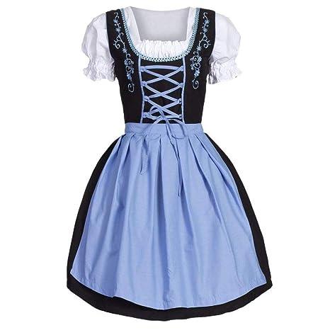 Longra Damen Trachtenkleid Dirndl Traditionelles Abendkleid für Oktoberfest Mittelalter Vintage Kleid & Schürze, Blau Frauen