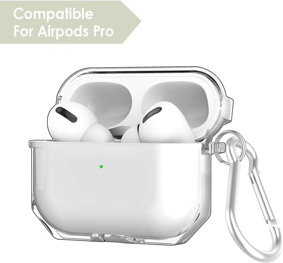 con mosquet/ón WD/&CD Funda Compatible con AirPods Pro 2019 Transparente Transparent TPU Soft Case Compatible para AirPods Pro