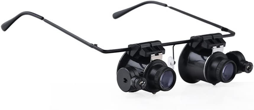 Nadalan Magnifying Glass Eye Mirror Eyepiece Glasses Type LED Lights Magnifier Loupe Jeweler Magnifying Glasses Tool 20X