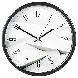 Decorative Wall Clock, SkyNature Large Indoor Non-Ticking Silent Quartz Modern Simple Wall Clock with Metal Frame for Home/Office/School 12 Inch (White)