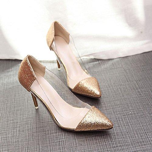 York mujer purpurina tacón Zapatos Zhu con Dorado correa punta transparente con para de con 7x6FxqXr