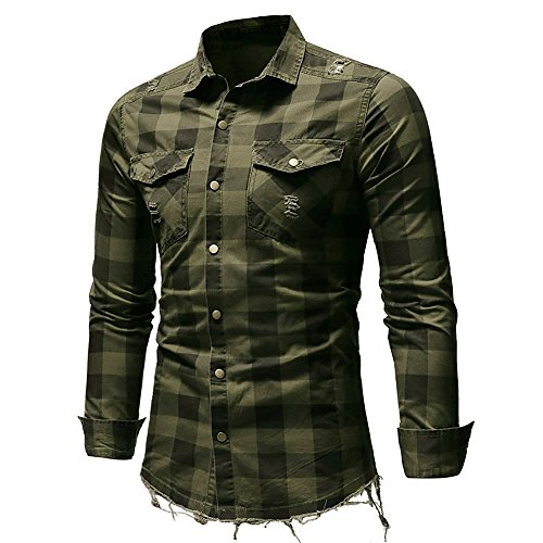 Men's Blouse Big and Tall Traveler Stretch Slim Pocket Long Sleeve Non Iron Shirt (Army Green, XXL) ()
