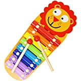 Joyin Toy Xylophone; Wood Instrument Lion Shape with 8 Bright Multi-Colored Keys and 2 Wooden Mallets; Child-Safe