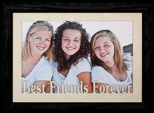 PersonalizedbyJoyceBoyce.com 5x7 Jumbo ~ Best Friends Forever Landscape Picture Frame ~ Laser Cream Marble Matboard (Black)