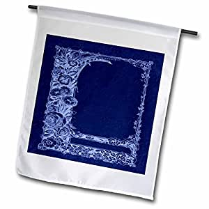 Jaclinart Floral Garden Vintage Damask Flower Trellis - Monotone floral trellis design in negative on a cobalt blue damask background - 18 x 27 inch Garden Flag (fl_54083_2)