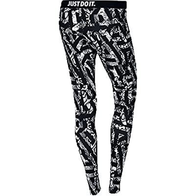 Nike Womens Leg A See All Over Printed Casual Tights-Black/White