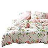 VClife Retro Bird Floral Bedding Sets Twin Girld Coloful Flower Pattern Bedding Collections, Pink Stripe Comforter Quilt Cover Sets, On Sale Pure Cotton Bedding Collection, Gift for Girl Female, Queen