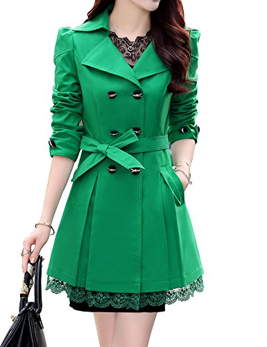 Double Breasted Belt - FV RELAY Womens Double-Breasted Bowknot Long Trench Coat With Belt and Lace Hem (XXL, Green)