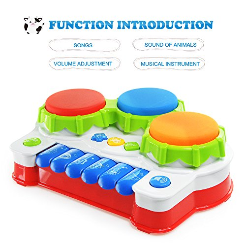 Baby Music Toy,AMOSTING Learning and Development Fun Toddler Toys Musical keyboard Drums Set for Babies Early Educational Game