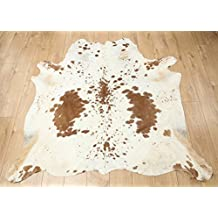 Western Cowhide Rug - Beautiful Brown & White - Luxurious Cowhide Rug - Approx 170 cm x 157 cm - D29