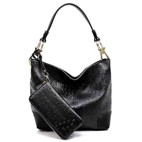 2 PC Set Ostrich Croco Embossed Vegan Faux Leather Hobo Shoulder Bag Classic Bucket Purse with Matching Wallet (BLACK)