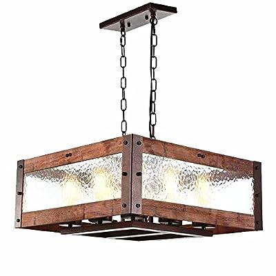Baiwaiz Rustic Kitchen Island Light, Wood and Metal Pendant Lighting with Water Glass Bronze Rust Adjustable Chandeliers