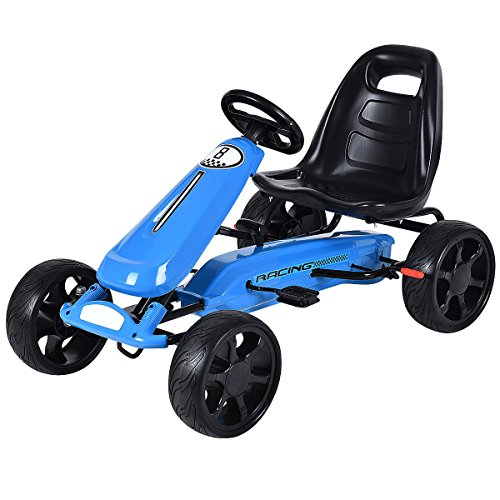 Costzon Go Kart, 4 Wheel Powered Ride On Toy, Outdoor Racer Pedal Car with Clutch, Brake, EVA Rubber Tires, Adjustable Seat, Blue